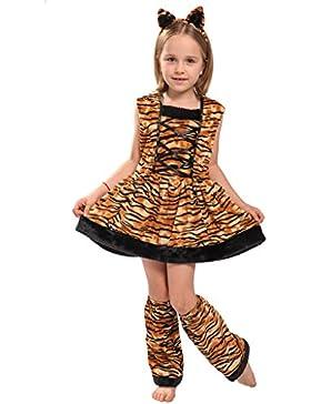 EraSpooky Tigre Costume Vestito Ragazza Tigrotta Ecopelliccia Carnevale