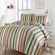 Goldstar® Maine rayas impreso de cama colcha de diseño moderno juego de ropa de cama con funda de almohada, multicolor, suelto