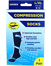 Adult's Unisex Black Compression Flight & Travel Socks