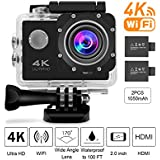 Beownwear 4K Action Camera WIFI 170 Degree Wide Angle Lens Full HD 1080P Waterproof Camcorder 2 '' Screen Sport Cam With 2 PCS 1050mAh Batteries And 18 Accessories Kits