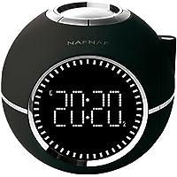 Naf Naf CLOCKINE - Radio despertador (FM digital, alarma dual, función Snooze y Sleep, proyector) negro