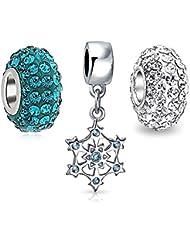 Bling Jewelry CZ Navidad Copo Cordón Color Azul Topacio paquete e