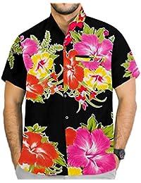 La Leela hibiscus floral manches courtes coupe décontractée chemise aloha bouton vers le bas des hommes de plage xs rose - 5XL