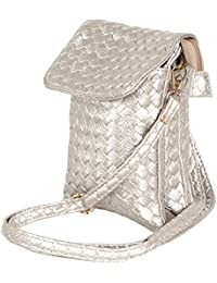 Tamirha Shinny Textured Pattern Silver Mobile Pouch Bag