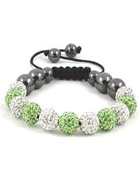 11-Ball Green & White Bead Shamballa Bracelet with no strings