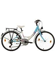 KS Cycling Mädchen Fahrrad Dacapo Florida RH 36 cm, weiß/blau, 24, 403D