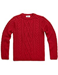 53f60d3761d3 Paul James Knitwear Womens Pure Merino Wool Crew Neck Cable Jumper  (Crimson) Large