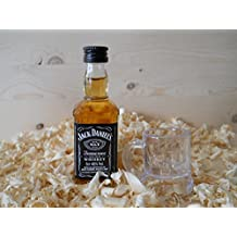 Botellin miniatura Whisky Jack Daniel´s con vastito chupito para detalles de invitados (Pack de 15 unidades)