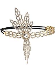BABEYOND Damen Art Deco Stirnband 1920s Stil Inspiriert von Flapper Great Gatsby Blatt Medaillon Blinkende Kristalle Haarband