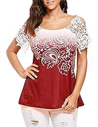 ... ❤ camisetas mujer manga corta,Costura del cordón de las mujeres ocasionales que cose la camiseta impresa floral del…