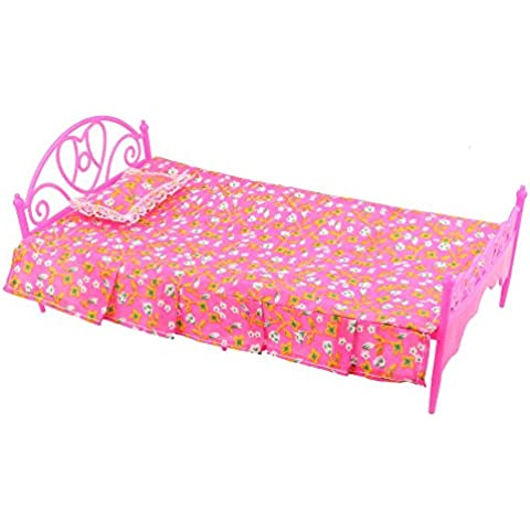 WEKA Niños Accesorios Muñeca dormitorio Cama Muebles Lovely rosa Dollhouse Nuevo conjunto de