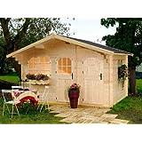 Gartenhaus ROHRWEIHE Ferienhaus Blockhaus Holzhaus 427 x 300 cm - 44 mm Fichte