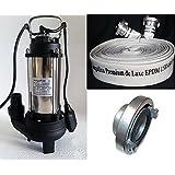 Profi Schmutzwasser Tauchpumpe megafixx PTP 1600 M - C 52 Storz bis 33000 Liter pro Stunde - 1600 Watt inkl. Profi Industrieschlauch megafixx Premium de Luxe 15 Meter