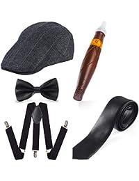 Beelittle Années 1920 Hommes Gatsby Gangster Costume Accessoires Set - Chapeau Béret Gatsby Newsboy, Bretelles, Montre de Poche, Cravate, Noeud Papillon pré-attaché, Cigare, Fausse Moustache