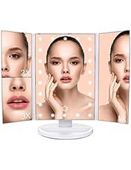 MLoveBiTi Kosmetikspiegel Tischspiegel Spiegel 22 Beleuchtung, 4 Abschnitt Make up Spiegel,180° Drehbarer Schminkspiegel, Batteriebetrieben und USB Aufladbar, Weiß