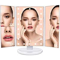 LED espejo de maquillaje plegable Espejo de sobremesa con pantalla táctil, mlovebiti Trifold 1x 2x 3x lupa, rotación de 180grados para el hogar mujeres niñas belleza