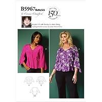 Butterick Patterns B5967 - Patrones de costura de blusas para mujer (tallas grandes), color blanco