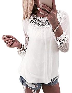 Logobeing Mujeres Gasa Moda Encaje Empalmar Tops Manga Larga Camisa Blusa