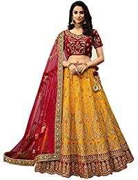 Globalia Creation Women's Silk Semi-stitched Lehenga Choli (palak yellow_Yellow_Free Size)