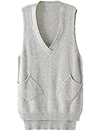 Femme Pull Casual Gilet Sans Manches Sweater Poche Tricot Chandail Tops