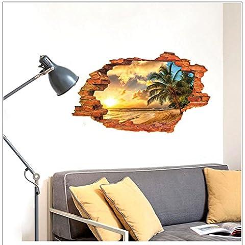 Autoadesivo 3d rompere attraverso la parete in vinile rimovibile Wall Sticker/Arte Murale Decorator MJ8024C Sundown Beach (60cm*90cm)
