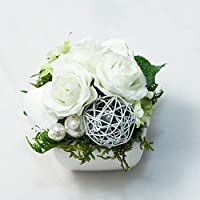 Kleines Weißes Tischgesteck mit weißen Röschen-Tischdeko,Gesteck mit künstlichen Blumen-Hochzeit,Taufe,Weihnachten