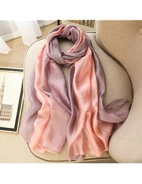 Elegante Pañuelo de seda color _ butt-pañuelo de seda seda de morera sunscreen degradado bufanda XF34 hembra,...
