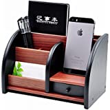 Lukzer Multi-Functional Wooden Desk Organiser, Pen Stand / Pencil Stand, Stationery Stand For Office And Students Use (6 Compartments)