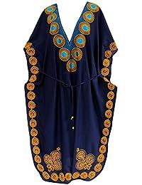 La Leela Designer larga playa de noche del vestido de ray�n traje de ba�o bikini traje de ba�o de las mujeres cubre para arriba caft�n