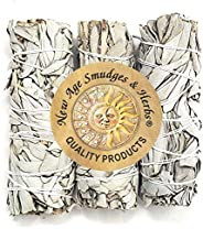 New Age Smudges & Herbs - Premium California White Sage 4 Inches Long ( Pack of 3). Use for Home Cleansing