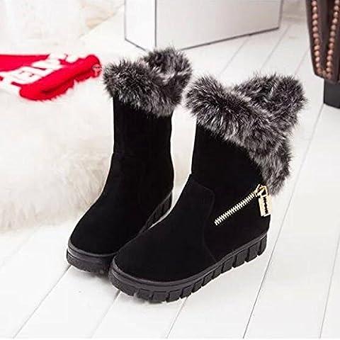 SHIXR Nuovo coniglio capelli doposci suole spesse inverno e isolamento lana stivali con tondo testa opaca manica breve stivali scarpe donna , black , 37