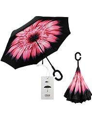 Msure Parapluie inversé, toile double épaisseur, résistant au vent, protection UV, protège de la pluie ou du soleil, idéal pour la voiture, fermeture inversée, Marguerite rose