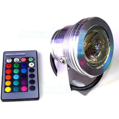 ZOFEI® 10W RGB impermeabile IP67 LED luce subacquea piscina Fontana 110V~220V + 24keys telecomando stagno faretti lampada