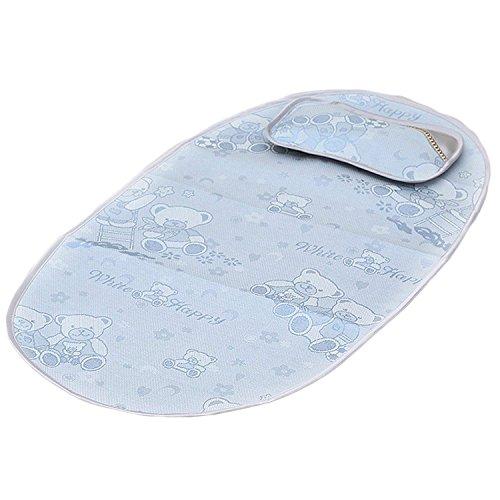 sgerste Neugeborene Kleinkinder zusammenklappbar Summer Cool Spielen Schlafsack Nap Matte Pad mit Mini Kissen Gute Luftdurchlässigkeit blau