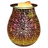 DELIWAY Electric Oil Warmer,Glass Tart Burner with 3D Effect Night Light,Wax Melt Warmer