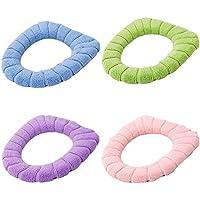 Juego de 4, almohadillas de cubierta de asiento de inodoro lavable elástico estirable de asiento de inodoro