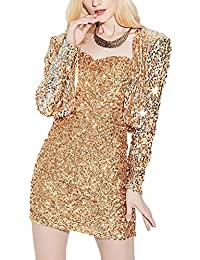 Mujer Lentejuelas Vintage Corto Blazers Manga Larga Elegantes Chaquetas Fiesta Coat Slim Fit Abrigos Ropa