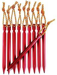 LIEBMAYA 18cm 10 Pcs Estacas para Tienda de Campaña Piquetas Clavijas Arena de Aluminio con Cuerda Reflectante para Camping Tienda de Campaña Senderismo Rojo