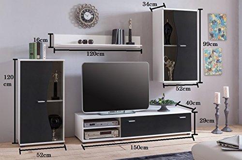 Wohnwand 'Pur' Schwarz Weiß Wohnzimmerschrank Tv Wand - 2