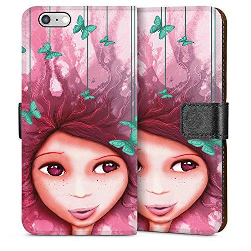 Apple iPhone 5s Housse Étui Protection Coque Fille Papillon Rose Violet Sideflip Sac