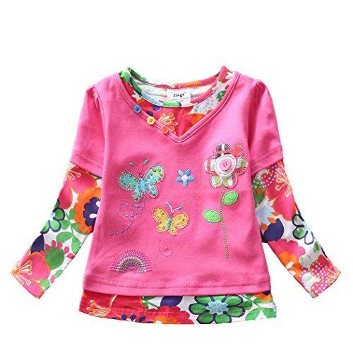 VIKITA Mädchen Baumwolle Langarm T-Shirt Top, G619 Rosa, Gr. 2-3 Jahre=92cm-98cm