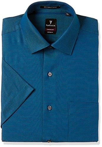 Van Heusen Men's Plain Regular Fit Cotton Formal Shirt (VHSH317M05485_Dark Green and Blue_44)