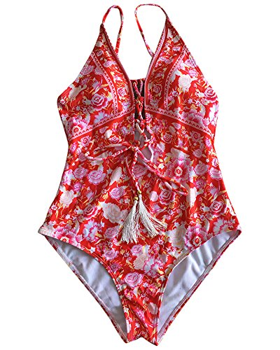 Donna Retro Floreale Costumi Interi Push Up Deep V Costumi da Bagno per Mare e Piscina Rosso