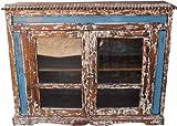 Guru-Shop Porta in Vetro Torace di Legno di Riciclo (JH0-012), 118x136x49 cm, Vetrine