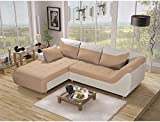 JUSThome Linea Sofá esquinero chaise longue ante sintético piel ecológica 79 x 190 x 257 cm Varios Colores