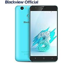 Blackview E7S - Móviles Libres Baratos Dual SIM Android 6.0 5.5 pulgadas (3G Smartphone, Quad-core, 2GB RAM, 16GB ROM, 8MP Cámara, Huellas Dactilares, 2700mAh, Bluetooth 4.1, GPS) - Azul