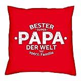 Vatertagsgeschenk : Kissen mit Urkunde :: Bester Papa der Welt : Geschenk für den Vater Stiefpapa Adoptivpapa : Persönliche Geschenk-idee zum Vatertag 40x40 Farbe: rot