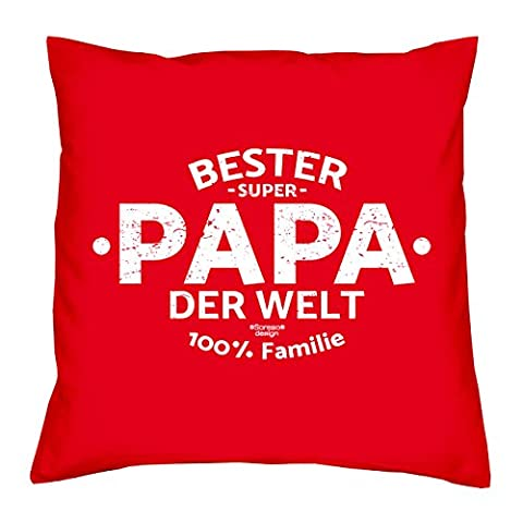 Deko Kissen mit Füllung :-: Größe: 40x40 cm :-: Bester Papa der Welt :-: Geschenkidee Vater Geburtstagsgeschenk Farbe: rot