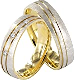 JC TRAURINGE 2 HEARTS COLLECTION 333er EHERINGE 8 KARAT GELB- & WEIßGOLD J123