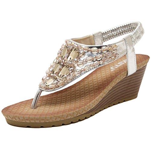Minetom Donne Elegante Sandali Estate Peep Toe Pantofole Sandali Con Zeppa T-Strap Sandali Argento 38